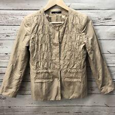 Tahari Womens Beige Blazer Jacket Size 4 3/4 Sleeve Ruffle Front Lined Khaki