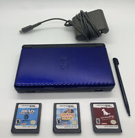 Nintendo DS Lite Console Handheld Black & Blue - Tested - With Games And Charger