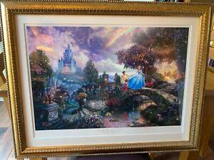 Stunning large Disney Thomas Kinkade Cinderella framed picture 70cm x 89cm.