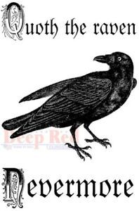 Deep Red Stamps Quoth the Raven Rubber Cling Stamp