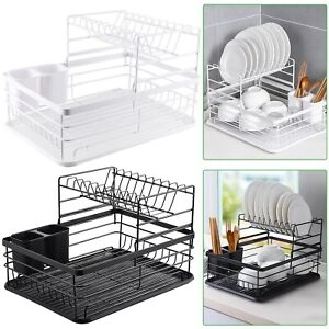 2 Tier Dish Drainer Kitchen Wire Cutlery Draining Holder Drip Plate Rack Tray
