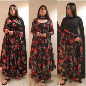 Black Floral Gown Salwar Kameez Dupatta Flare Long Kurti Anarkali Suit Partywear