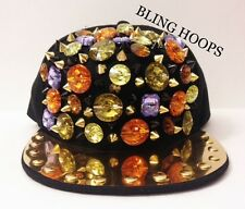 NEW Bling Hoops Gold Spike Studs Gems Spikes Snapback Hat Hip Hop BBW Charms