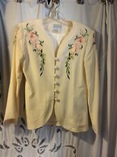 Vintage Saks Fifth Avenue, Folio Collection ,Cream Silk embroidered suit size 8