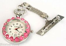 NURSES/STUDENT FOB WATCH--PINK CRYSTALS LOVELY ITEMS