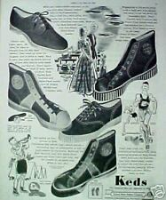 1938 Keds Sports Tennis Shoes Women,Men,Kids Track Ad