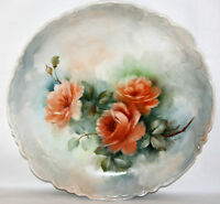 "ANTIQUE GERMANY PORCELAIN ROSES LARGE 12"" PLATE/BOWL, SIGNED HANDPAINTED"