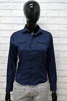 Camicia DANIELE ALESSANDRINI Donna Taglia S Maglia Blusa Shirt Woman Cotone Blu
