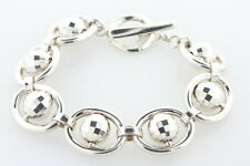 """Crea Italy Sterling Silver 925 Disco Rollable Bead Ball Oval Link Bracelet 6.5"""""""