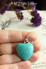 "Turquoise Heart Pendant 18"" Silver Plated Necklace December Birthstone Jewellery"