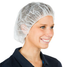 100 White Mob Caps Disposable Pleated Hair Net Spray Tanning/Catering/Fake Tan