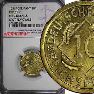 Germany, Third Reich 1936-F 10 Reichspfennig NGC UNC DETAILS KM# 40 (088)