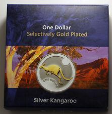 2006 Australia $1 Dollar Selective Gold Plated Kangaroo Silver Coin