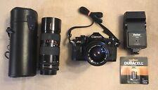 Canon A-1 35mm SLR Film Camera w/ Vivitar 35-70mm Tamron 85-210mm Lens + Flash