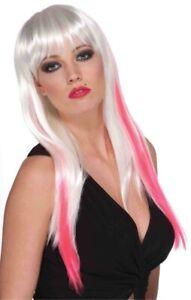Goth Pink White Slash Wig Adult Costume Accessory NEW