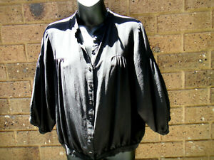 Country  Road   black   shirt. Size  M.  100%  silk