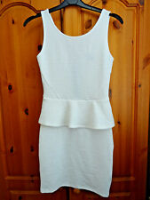 Women's H&M white peplum bodycon mini dress, size 8