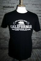 California Republic T-shirt Black Unisex M Golden State Grizzly Bear CA Flag