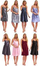 Ladies Chemise Satin Summer Womens Nightie Silk Night Knee Length Cami Bed Plain