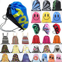 Drawstring Sports Swim Shoes Dance Bag Schoolbags Boy Girls Backpack PE Gym Bags