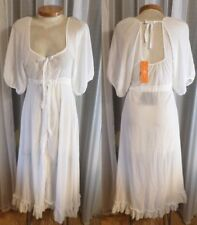 NWT White Robe or Nightgown New Lady Woman M Medium Semi Sheer Ruffle Open Back