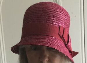 New Seeberger Cloche Straw Hat - Pinky Red / 1920's / Casual Or Wedding. RRP £45