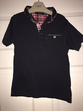 BOYS 6-7 YEARS POLO SHIRT T-SHIRT NAVY WITH RED/WHITE CHECKED DETAIL S/NW
