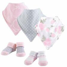 Hudson Baby Girl Bandana Bib & Socks Set, 5-Piece, Pink Rose