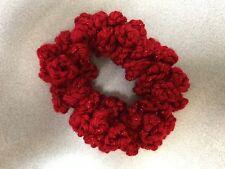 Handmade Crochet Crocheted Hair Scrunchie Red Acrylic Blend