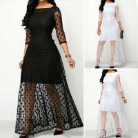 Women 3/4 Sleeve Polka Dot See Though Party Prom Evening Dresses Long Maxi Dress