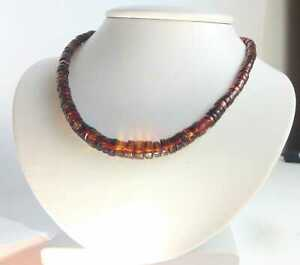 MEXICAN AMBER RED COGNAC GREEN NECKLACE POLISHED CIRCLE