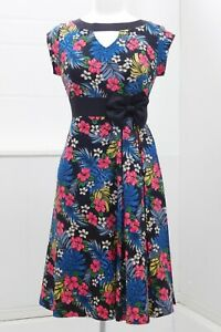 Lindy Bop 50s Bettie Page Pinup girl style dress black/ Tiki floral UK14 Mad Men