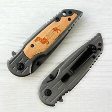 "Personalized Laser Engraved Dog Design Pocket Knife With Clip Wedding Gift 3.35"""