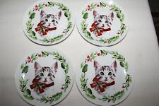 "Kitty Cat Kitten Christmas Cat 6"" Appetizer Dessert Plates Set of 4 New"