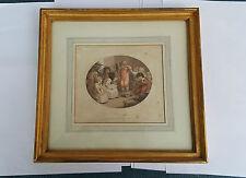 Antique Pointillé Gravure 1790 'Cancre Disgrâce» dans 19ème Siècle doré Cadre
