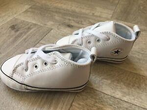 Babys White Leather Crib Star Converse Booties Boots Genuine BNWOB Unisex Neutra