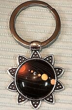 Beautiful stainless steel split key ring Solar System Planets OUTER SPACE