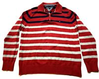 Tommy Hilfiger Mens Red Striped Long Sleeve 1/4 Zip Sweater Size XL