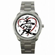 Love Japanese Kanji Heart Asian Symbol Stainless Steel Sport Watch New!