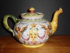 Antique Mythological Serpent Handled Majolica Teapot
