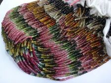Micro Faceted Multi TOURMALINE 4-4.5mm Rondelle Gemstone Bead 10 Strand Necklace