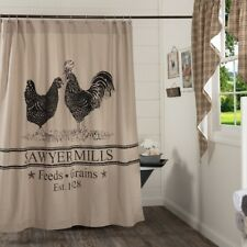 Rooster & Hen Shower Curtain Tan Cotton Chambray Grain Sack Stripes Sawyer Mill