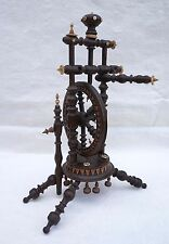 French  Silk Spinning Wheel Carved Turned Plum Tree Quimper 1930