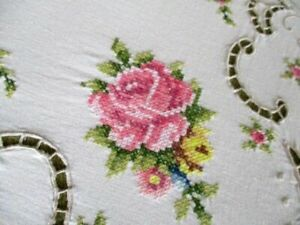 """Pretty Tablecloth Hand embroidered with Pink Roses  - 48""""sq."""
