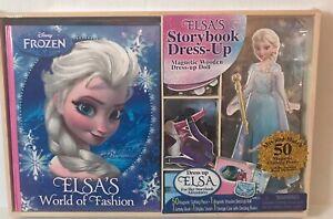 Disney Frozen Elsa Magnetic Dress Up Doll Book 50 Fashions Wood Storage New