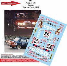 DECALS 1/24 REF 664 PEUGEOT 505 DORCHE TOUR DE CORSE 1980 RALLYE RALLY WRC