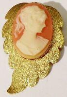 broche bijou vintage feuille strié camée buste femme relief couleur or * 4749