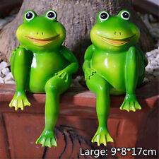 Resin Sitting Frogs Statue Outdoor Frog Sculpture Garden Decorative  K