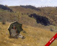YOUNG WOMAN GIRL & UMBRELLA ON A SUNNY SUMMER DAY PAINTING ART REAL CANVAS PRINT