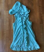 Janie and Jack Girls Sz 4 Swimsuit Cover Up Terry Cloth Aqua Hood